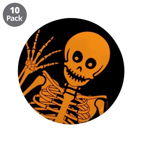 """Friendly Skeleton 3.5"""" Button (10 pack)"""