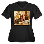 Repasseu Women's Plus Size V-Neck Dark T-Shirt