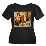Repasseu Women's Plus Size Scoop Neck Dark T-Shirt