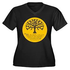 Planteth A Tree Women's Plus Size V-Neck Dark T-Sh