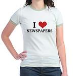 I Love Newspapers Jr. Ringer T-Shirt