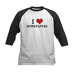 I Love Newspapers Kids Baseball Jersey