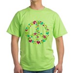 Love in Peace. Bunch of heart Green T-Shirt