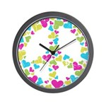Love in Peace. Bunch of heart Wall Clock