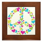 Love in Peace. Bunch of heart Framed Tile