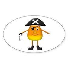 Candy Corn Pirate Oval Decal