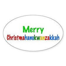 Merry Christmahanukwanzakkah Oval Decal