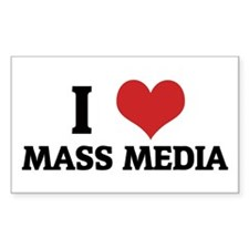I Love Mass Media Rectangle Decal