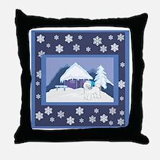Snowflake Bichon Frise Throw Pillow