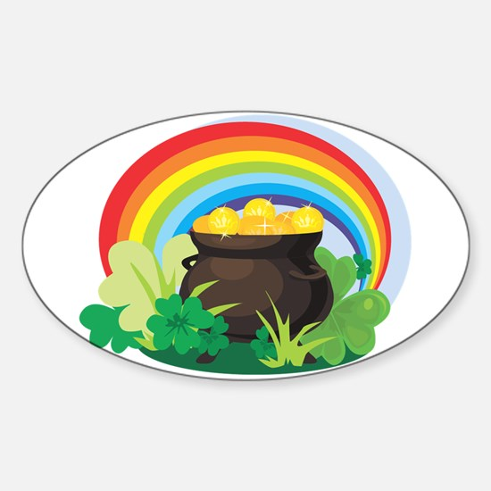 POT OF GOLD Oval Decal