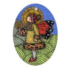 Angel in Red Shoes Oval Ornament