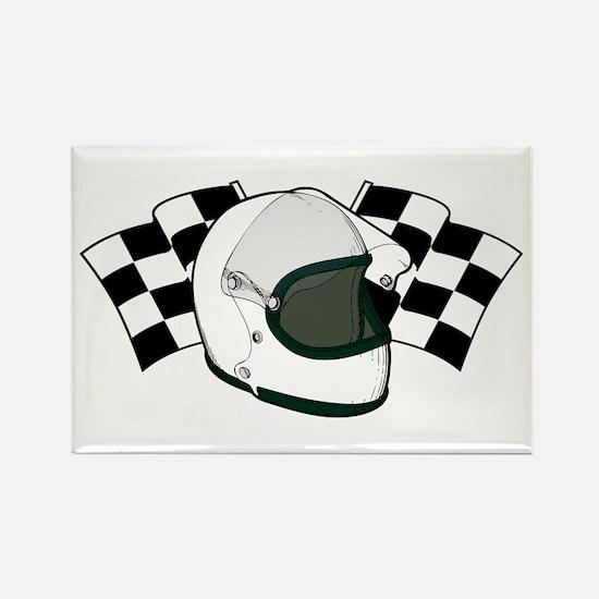 Helmet & Flags Rectangle Magnet