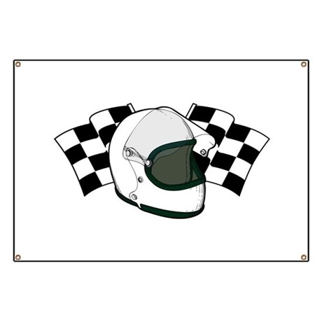 Helmet & Flags Banner