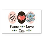 Peace Love Tea Rectangle Sticker