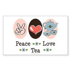 Peace Love Tea Rectangle Sticker 10 pk)