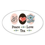 Peace Love Tea Oval Sticker