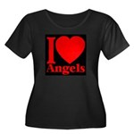 I Love Angels Women's Plus Size Scoop Neck Dark T-
