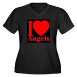 I Love Angels Women's Plus Size V-Neck Dark T-Shir