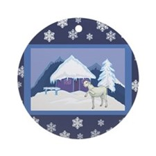 Snowflake Goat Holiday Ornament (Round)