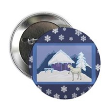 """Snowflake Goat Holiday 2.25"""" Button"""