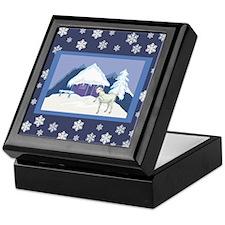 Snowflake Goat Holiday Keepsake Box