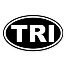 Triathlon TRI Oval Euro Sticker Black