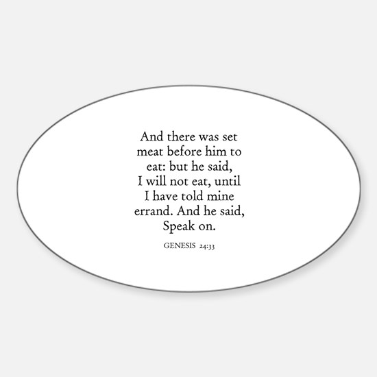 GENESIS 24:33 Oval Decal