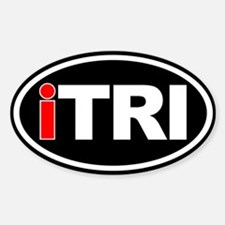 Triathlon iTRI Ironman Oval Euro Sticker Black