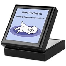 Bichon Frise Rule 3 (Tummy Rub) Keepsake Box