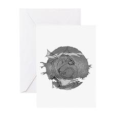 Cute Silver dragons Greeting Card