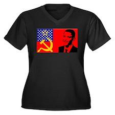 Obama USA Communist Flag Women's Plus Size V-Neck