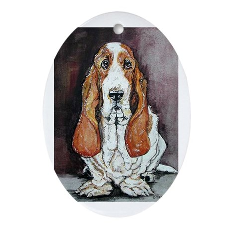 Basset Hound Portrait Oval Ornament