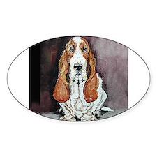 Basset Hound Portrait Oval Decal