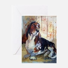 Vintage Basset Hound Greeting Card