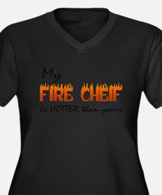 My Fire Cheif is Hotter Women's Plus Size V-Neck D