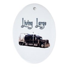 Cute Peterbilt christmas Oval Ornament