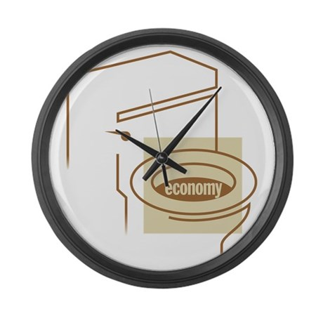 The Economy is in the Toilet Large Wall Clock