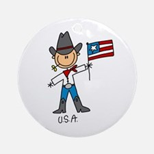 USA Stick Figure Ornament (Round)