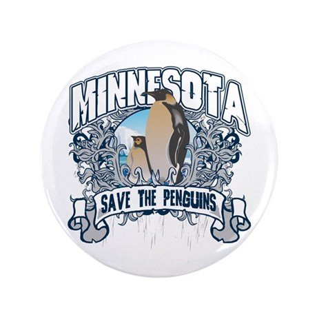 """Save the Penguins Minnesota 3.5"""" Button (100 pack)"""