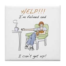 Funny Lap Cat Tile Coaster