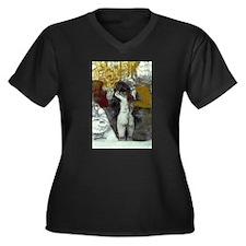 Toilette Women's Plus Size V-Neck Dark T-Shirt
