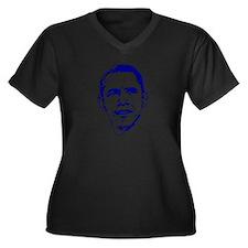 Obama Line Portrait Women's Plus Size V-Neck Dark