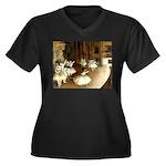 Dance Class Women's Plus Size V-Neck Dark T-Shirt