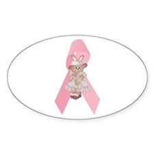 Breast Cancer Ribbon & Bunny Oval Decal