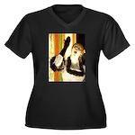 Singer Women's Plus Size V-Neck Dark T-Shirt