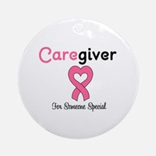 Caregiver Breast Cancer Ornament (Round)