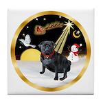 Night Flight/Pug (black) Tile Coaster