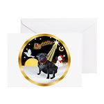 Night Flight/Pug (black) Greeting Cards (Pk of 20)