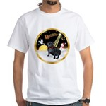 Night Flight/Pug (black) White T-Shirt