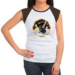 Night Flight/Pug (black) Women's Cap Sleeve T-Shir